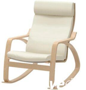 Кресло качалка взрослое (кожа, цвет светло бежевый )