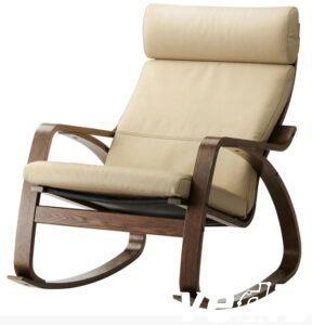 Кресло качалка взрослое (коричневый каркас, кожа, цвет светло бежевый )