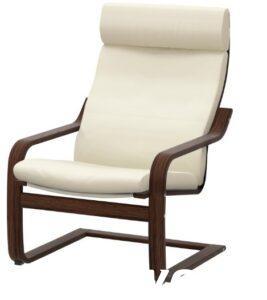 Крісло доросле (коричневий каркас, шкіра, колір світло бежевий)